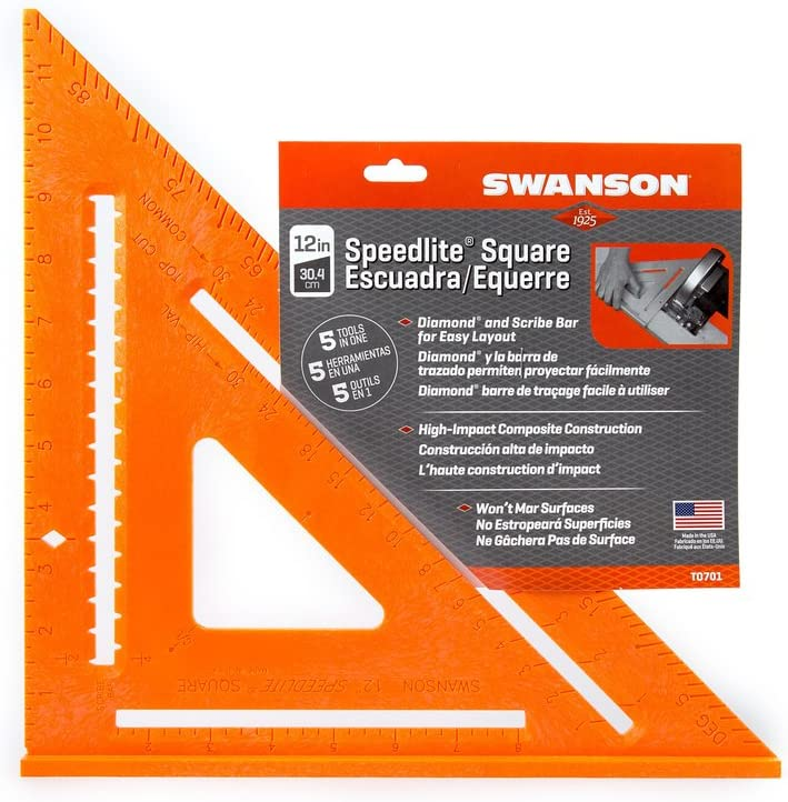 Swanson Tool Co T0701 12-Inch Composite Speedlite Square Layout Tool made of High Impact Polystyrene Pack of 2 Orange