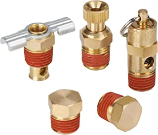 Hromee 5 Piece 1/4 Inch Compressor Air Tank Port Fittings Drain Valve Kit with Solid Brass Hex Head Plugs Winged Style and Twist Style Petcock 140 PSI Safety Valve