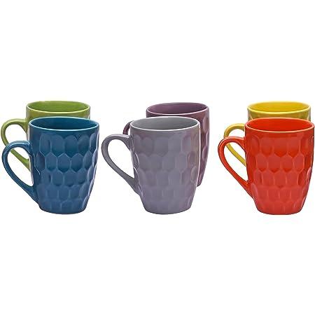 Sampla Tucana Series Ceramic Coffee Mugs - 6 Pieces, Diamond Multi Colour, 250 ML (Random Colour)