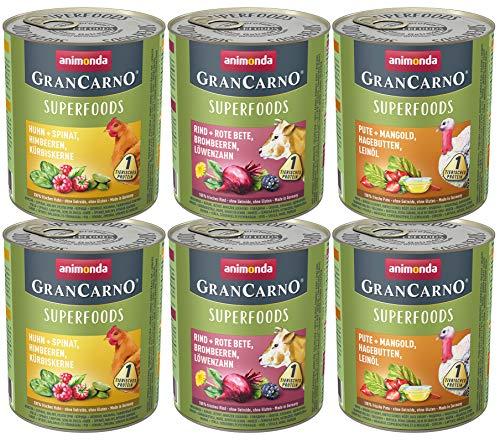 animonda GranCarno Adult Monoprotein Hundefutter, Nassfutter für ausgewachsene Hunde, Monoproteinmix Pute, 6 x 800 g