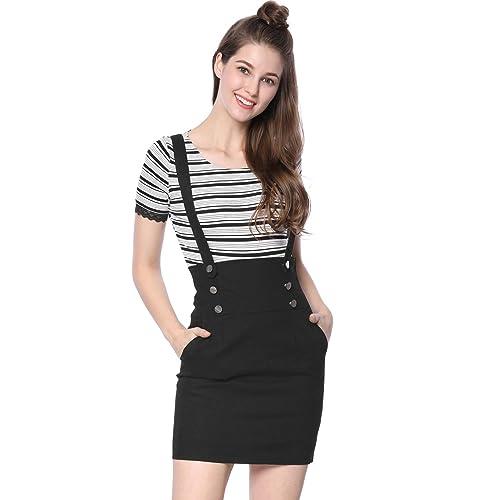 613da2a35 Allegra K Women's High Waist Straight Braces Suspender Skirt
