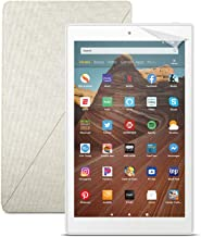 Fire HD 10 Tablet (64 GB, White, With Special Offers) + Amazon Standing Case (Sandstone White) + Nupro Screen Protector (2-pack)