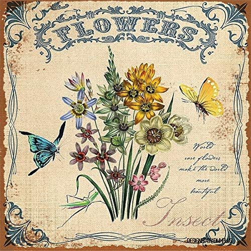 Uptell Wall Decor Vintage Flower Butterfly Dragonfly Insect Birds No.1 Metal Tin Sign Home Kitchen Bar Shop Hanging Art 12x12inches