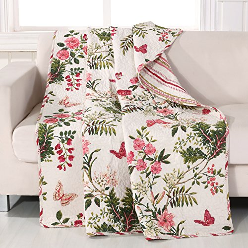 Greenland Home Butterflies Throw Blanket, Full, White