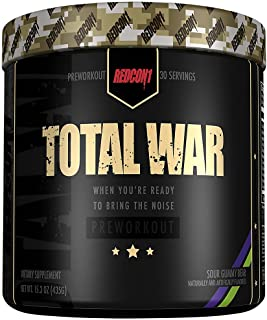 Redcon1 Total War - Pre Workout Powder, 30 Servings, (Sour Gummy) Boost Energy, Increase Endurance and Focus, Beta-Alanin...