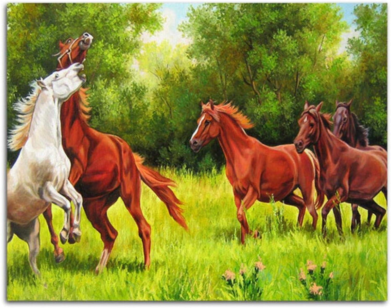 Agolong Pferde Bild auf Wand Acryl Färbung nach Zahlen Ölfarbe nach Zahlen DIY Malen nach Zahlen für einzigartiges Geschenk Rahmenlos 40x50 cm B07PFWLVGH | Öffnen Sie das Interesse und die Innovation Ihres Kindes, aber auch die Unschuld von