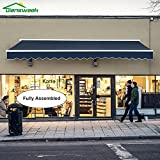 Diensweek Patio Awning Retractable Manual Commercial Grade Fully Assembled - Quality 100% 280G Ployester Window Door Sunshade - Deck Canopy Balcony P100 Series (15'x10', Navy Blue)