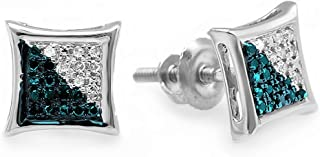 Dazzlingrock Collection 0.10 Carat (ctw) Round Blue & White Diamond Micro Pave Kite Shape Stud Earrings, Sterling Silver