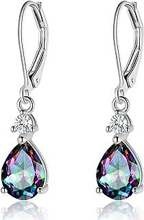925 Sterling Silver Blue Topaz Teardrop Earrings Drop...