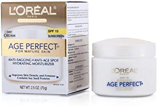 Day Moisturizer, L'Oreal Paris Age Perfect Anti-Aging Day Cream Face Moisturizer With Soy Seed Proteins and SPF 15 Sunscre...
