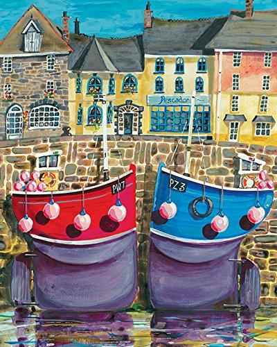 Jeremy Thompson Padstow Boten 40 x 50cm Canvas Prints, Polyester, Meerkleurig, 40x50x3.2 cm