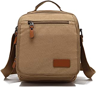 Canvas Handbag,14 Inch Laptop Messenger Bag,Canvas Leather Shoulder Bag for Men