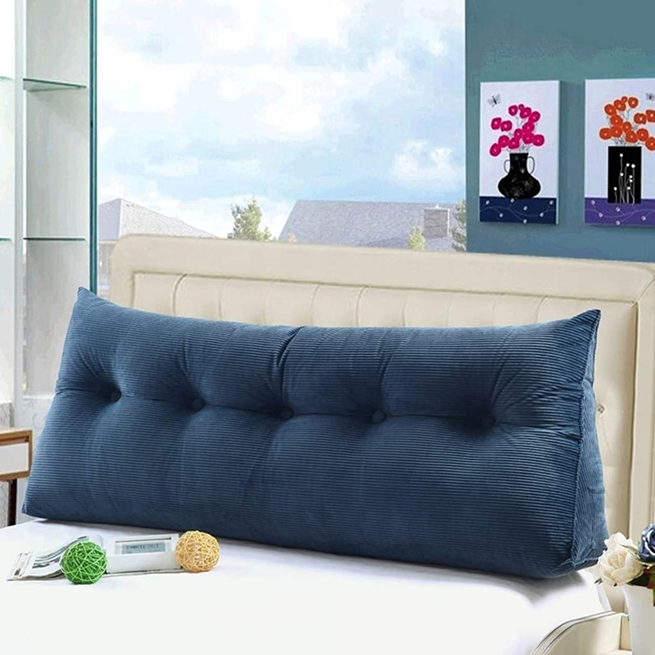 資本主義テレビパラメータZWJベッド背もたれ クッション ベッドの背もたれ 大 三角 ベッド クッション ヘッドボード ソファー バックレスト カバー ベッドサイド 腰椎 パッド 布張り 枕 柔らかい シングル ダブル リムーバブル ウォッシャブル、 9色、 マルチサイズ (Color : Navy blue, Size : 60x22x50cm)