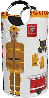 N\A Grand Panier à Linge 82l, icône de Protection des Pompiers Professionnels Panier à Linge Pliable en Tissu, Sac à vêtem...