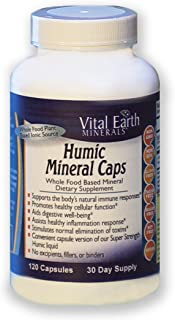 Vital Earth Minerals Humic Mineral Caps - 120 capsules - 30 Day Supply - Whole Food Plant Based Ionic Trace Minerals -Vega...