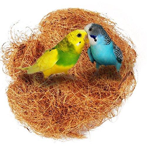 UEETEK Nido de Coco Nido para pájaros, cómodo juego de jaula de pájaros para periquitos Budgerigar y pequeños animales domésticos