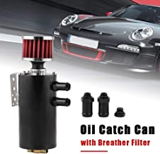 RYANSTAR Universal 7 oz Baffled Oil Catch Can, 2 Port Universial Engine Oil Reservoir Tank with Breather Filter + Drain Valve