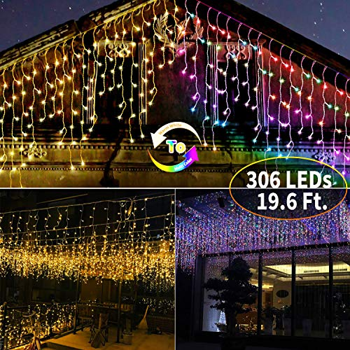 Icicle Lights Warm & Multicolor: 306 LED 19.6 Ft. 54 Drops String Lights Outdoor with Remote Control Set Time & 11 Light Modes for Roof Party Decorations Christmas Lights Icicle