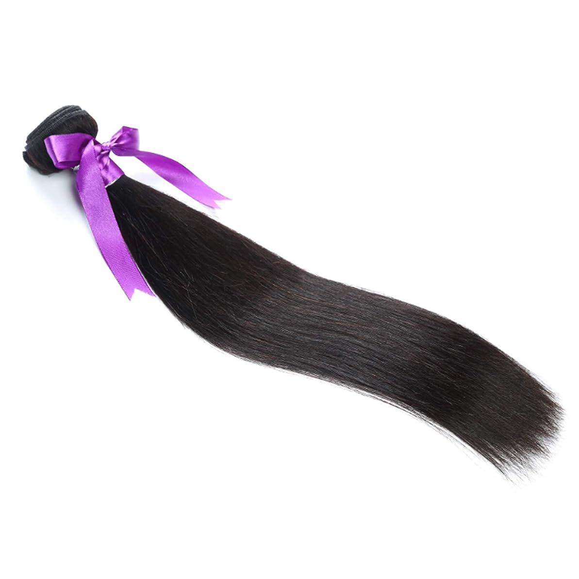療法頑丈中性マレーシアストレートヘアバンドル8-28インチ100%人毛織りのremy髪ナチュラルカラー1ピース髪織り かつら (Stretched Length : 26inches)
