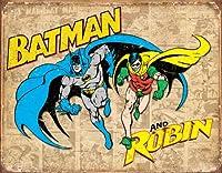 Batman と Robin Weathered パネル ブリキ 看板 13 × 16インチ