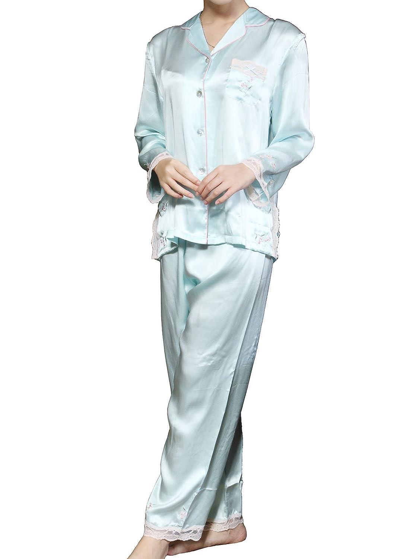 パジャマ レディース 前開き 長袖 レース 花刺繍 シルク100%