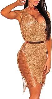 Women's Sexy V-Neck Woolen Sweater Tank Dress Bikini Swimsuit Cover-UPS Tops Semi-Sheer Cover Up
