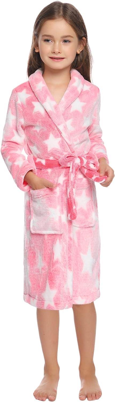 Hawiton Accappatoio Bambino e Bambina Pigiami Bambina Invernali 2-12 Anni Lunghezza al Polpaccio Morbido Pigiami Tinta Unita con Cintura per Le Ragazze dei Ragazzi Flanella Manica Lunga