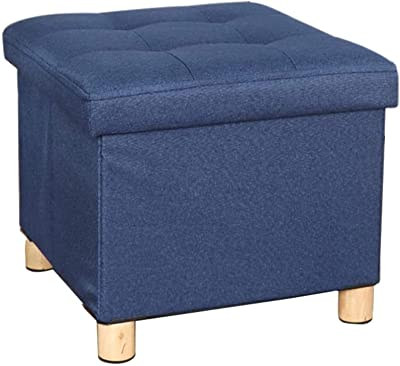 Footstools & Ottomans Ottoman Stool Storage Linen Square Foot Stool Seat with Wood Legs,Low Stool Pouffe Chair with Removable (Color : Navy Blue)