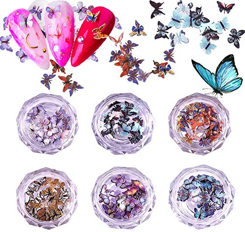 Kalolary 3D Schmetterling Nail Art Glitter Pailletten Bunte Schmetterling Nail Pailletten Acryl Pailletten Nagel Funkeln Glitter Tipps für Nail Art Dekoration Stil