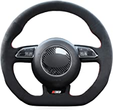 MEWANT Hand-Stitched Black Suede Car Steering Wheel Cover Wrap for Audi S1 (8X) S3 (8V) Sportback S4 (B8) Avant S5 (8T) S6 (C7) S7 (G8) RS Q3 (8U) SQ5 (8R)