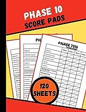 Phase 10 Score Pads: 888 Score Pads for Scorekeeping   Score Keeping for Phase 10 Lovers   Phase 10 Score Cards Large Size...