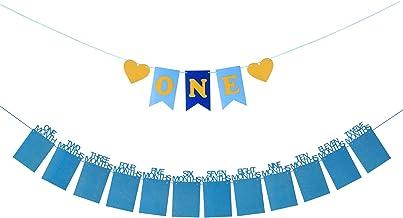 ZoomSky Marco de Fotos guirlada Fotos Papel para Colgar Bebe recién Foto Decora Fiesta de Primer cumpleaños de niño Regalo un One Bandera, 20 Pegamento Redondo Punto, un Hilo, una Aguja (Azul)