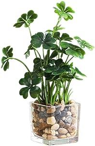 Artificial Plants,Fake Plants Room Decor Artificial Green Fake Plant Artificial Plants in Pots for Home Decor Indoor ,Garden Office Wall Decoration Artificial Fake Plants (Four Clover)