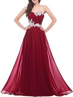 DianSheng Women's Strapless Pleats Appliques Long Evening Prom Party Dress