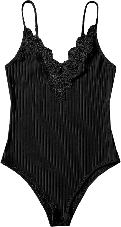 Floerns Women's Plus Size Contrast Lace V Neck Rib Knit Cami Bodysuit Tops