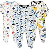 Baby Footed Pajamas Zipper with Mittens - 3 Packs Cotton Newborn Boys' One-Piece Footies Onesie Pjs Sleep and Play Overall (Space/Vehicle/Whale,0-3 Months)