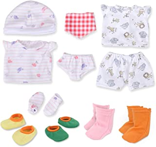 """WakaoFeeling Baby Doll Clothes Shoes for 10""""-11""""-12"""" Alive Dolls Include Bibs Mittens Socks Accessories Set"""