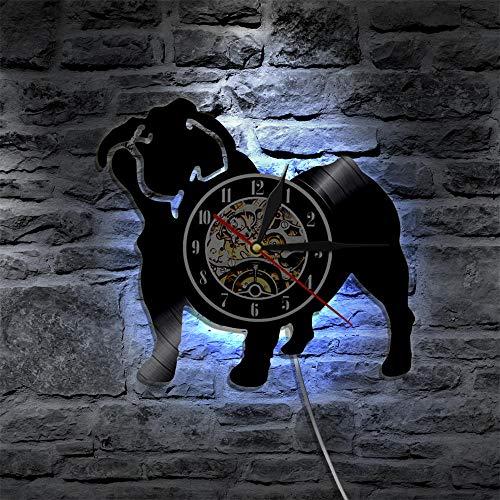 GZWSM Bulldog Francés Reloj de Vinilo para Mascotas Animal Lindo Decoración de Pared para el hogar Reloj Colgante Retro Reloj Hecho a Mano Creativo Regalos para dueños de Perros-con LED