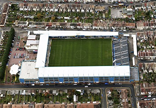 Aluminium sign/plaque approx A4 featuring an aerial pic of Priestfield Stadium, home of Gillingham FC.