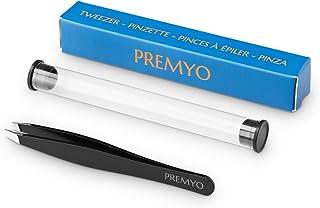 PREMYO Pinza de Depilar Cejas con Punta Oblicua de Precisión para una Depilación Óptima Acero Inoxidable Profesional Extraer Vello