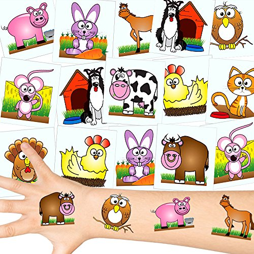German-Trendseller  - Farm Tattoos Set ┃ Neu ┃ Tier Party ┃ Kindergeburtstag ┃ Mitgebsel ┃36 Tattoos