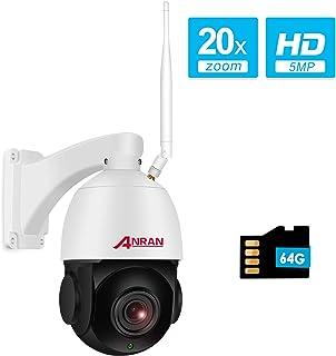 【20X Zoom】 5MP PTZ Cámara de Videovigilancia WiFi Exterior Óptico de Alta Velocidad ANRAN Cámara en Domo con Tarjeta SD de 64GB Audio Bidireccional Detección de Movimiento Visión Nocturna