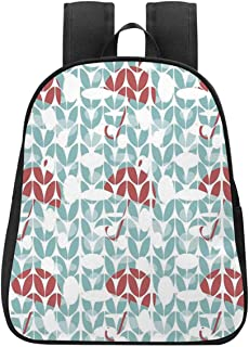Apartment Decor Individual Backpack,Umbrella Pattern with Geometric Exposure Cuts Rain Safety Graphic Artwork for School,One_Size