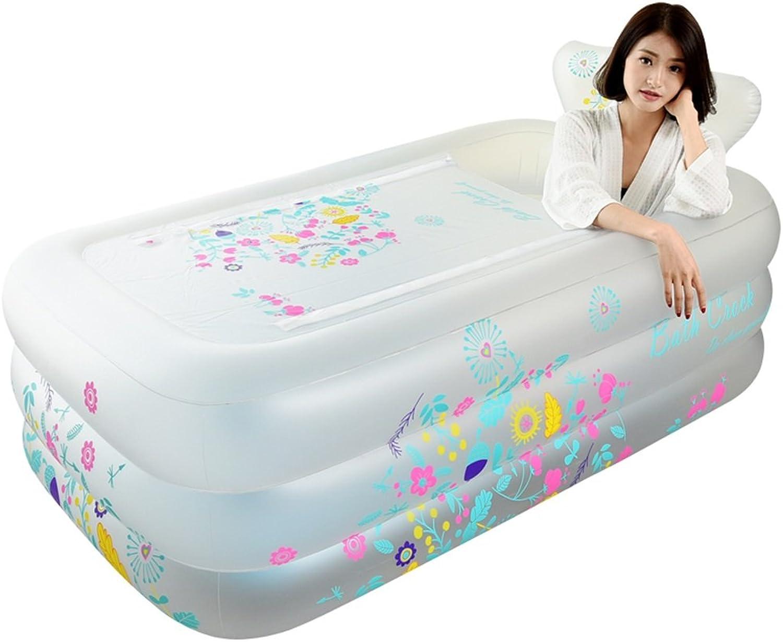 Life Household Inflatable Bathtub, Adult Double Bathtub, Plastic Bath Barrel, Thick Warm Folding Bath Barrel (Size   Scrub white-L160W90H52CM)