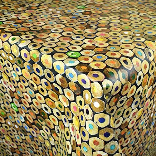 KEVKUS Nappe de Table en Toile Cirée K-ML3205 Crayons de Couleur Réparer Stylos Enfants École Éligible en Carré Rond Oval - Bariolé, 130 x 170 cm Oval