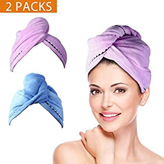 2 Pack Hair Towel Wrap Turban Microfiber Drying Bath Shower Head Towel with Buttons, Quick Magic Dryer, Dry Hair Hat, Wrapped Bath Cap By Duomishu, Small