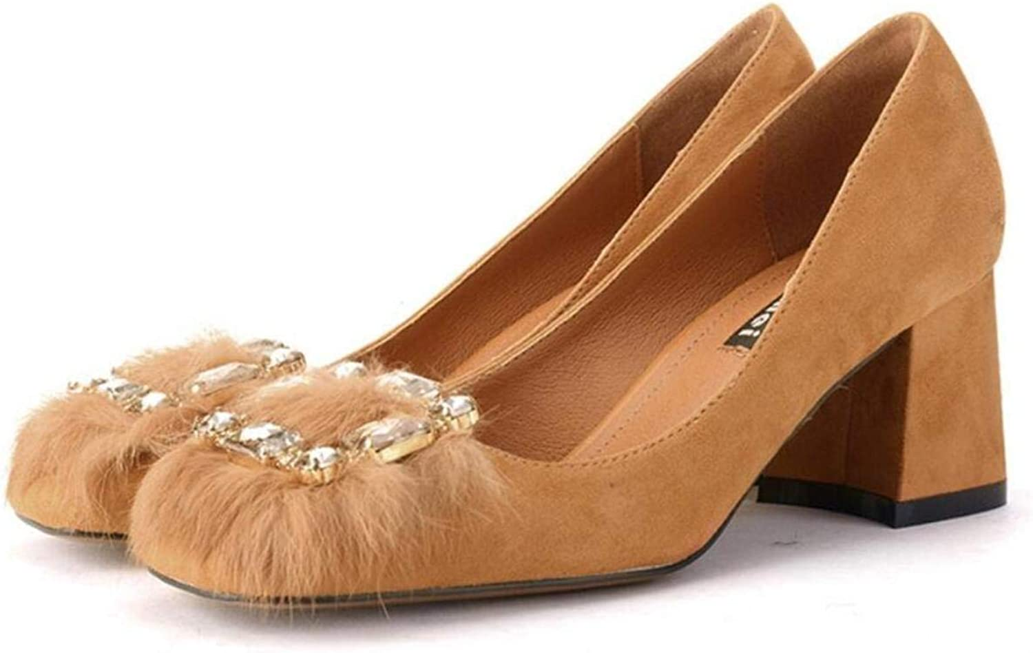 Lady shoes Women High Heels Square Head with Wool Hair shoes Diamond Decoration Solid color Wild Formal and Casual Universal Female shoes