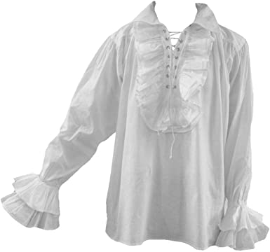 Gótico Hombres 80s New Romantic Frilly Pirate Baggy Shirt Blanco/Negro Fit S/M - 3XL