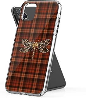 joyganzan Dragonfly in Amber Inspired Plaid w. Dragonfly Case Cover Compatible for iPhone iPhone (11 Pro Max)
