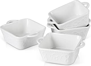 MALACASA, Série Bake, 4 Pcs Plats à Four Carré, Petit Plat à Four Blanc, 14 x 11 x 4.5cm 290ml, Mini Assiette pour Four Po...